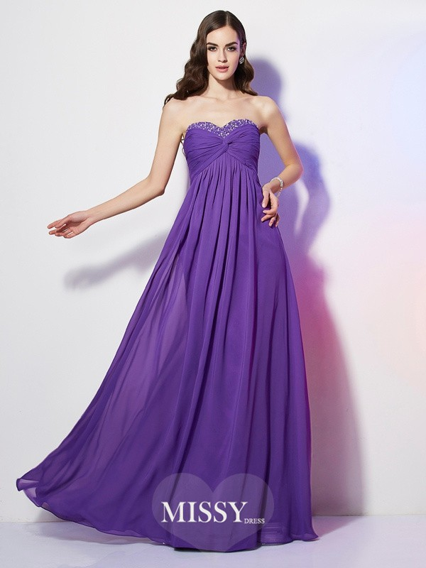 Sweetheart Sleeveless Beading Chiffon Floor-Length Dress