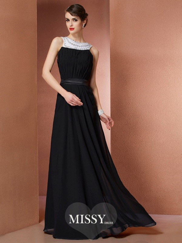 Sheath/Column Scoop Sleeveless Beading Chiffon Floor-Length Dress