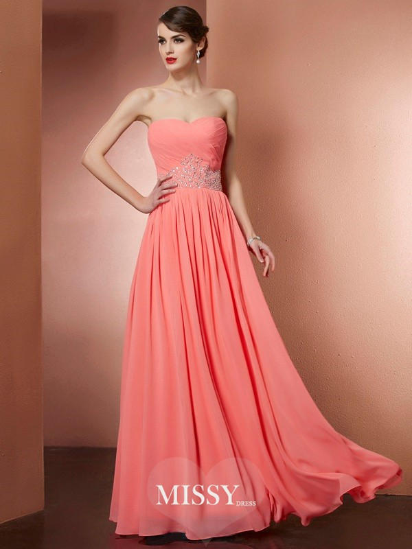 A-Line/Princess Strapless Sleeveless Beading Chiffon Pleats Long Dresses