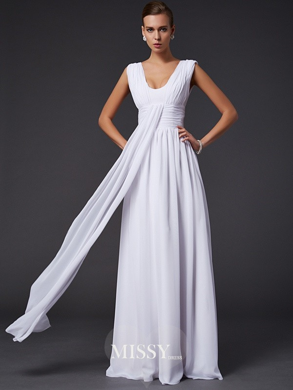 Princess Jewel Floor-length Pleats Sleeveless Chiffon Dresses