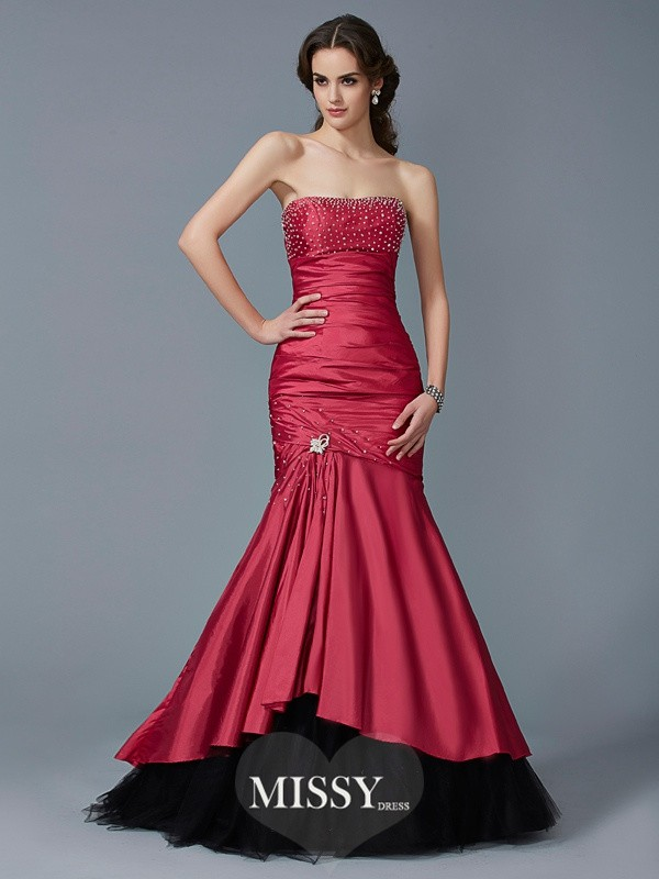 Trumpet Strapless Beading Sleeveless Floor-Length Taffeta Dresses