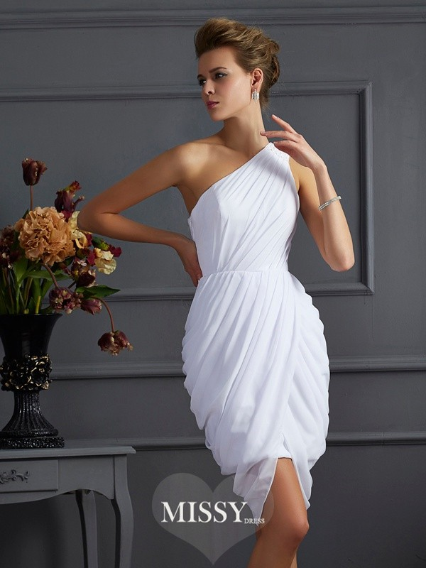 Sheath/Column One-Shoulder Pleats Sleeveless Chiffon Short/Mini Dress