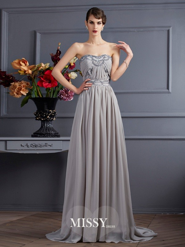 A-Line/Princess Sleeveless Sweetheart Pleats Brush Train Chiffon Beading Dresses
