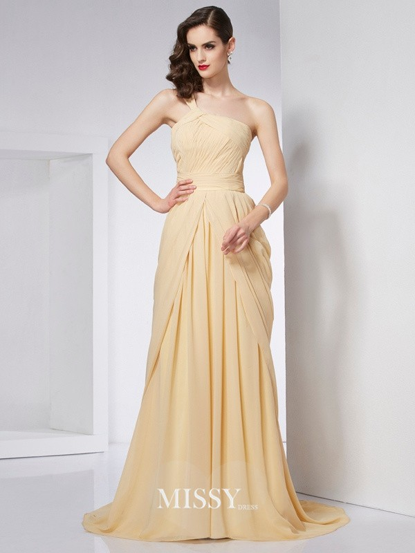 A-Line/Princess One-Shoulder Sleeveless Pleats Chapel Train Chiffon Dresses