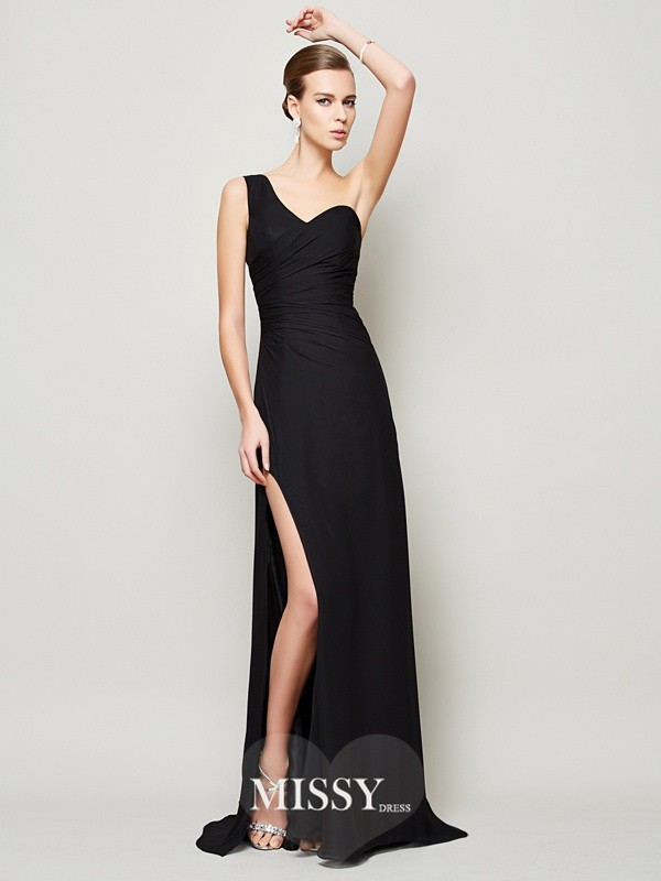 Sheath/Column One-Shoulder Sleeveless Sweep/Brush Train Pleats Chiffon Dresses