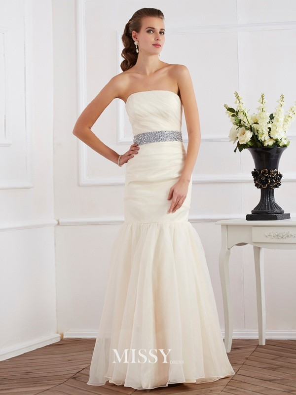 Trumpet/Mermaid Strapless Sleeveless Sash Floor-Length Organza Dresses