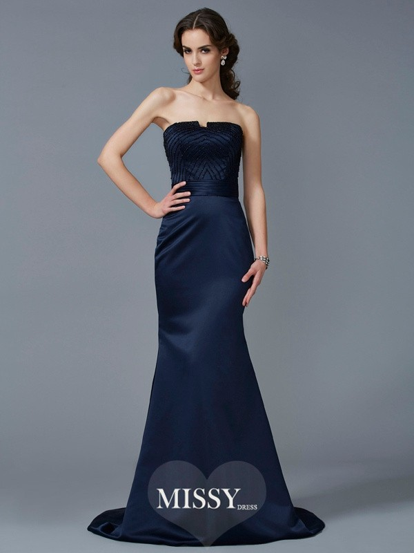 Trumpet/Mermaid Strapless Sleeveless Beading Sweep Satin Dresses