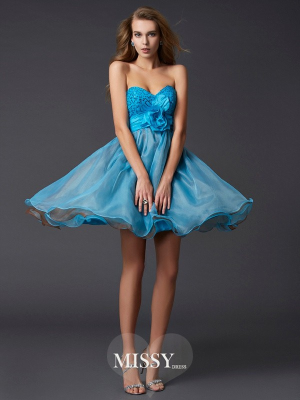 A-Line/Princess Sleeveless Sweetheart Paillette Mini Taffeta Dresses