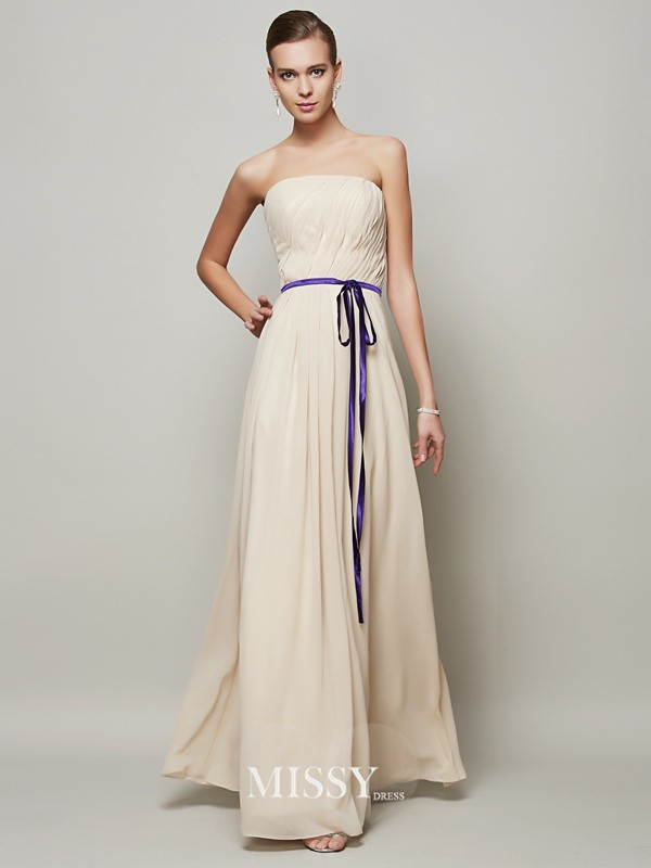 A-Line/Princess Strapless Sash/Ribbon/Belt Pleats Floor-Length Chiffon Dress