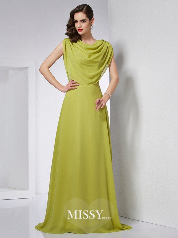 A-Line/Princess High Neck Sleeveless Pleats Sweep/Brush Train Chiffon Dress
