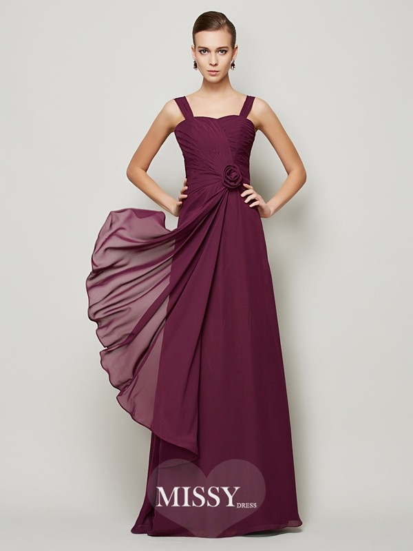 A-Line/Princess Straps Hand-made Flower Pleats Sleeveless Chiffon Dress