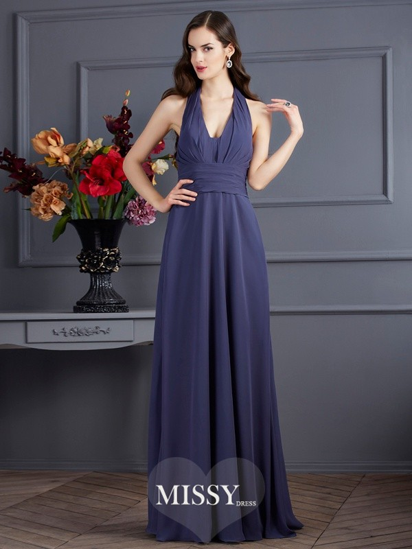 A-Line/Princess Halter Sleeveless Pleats Chiffon Floor-Length Dress