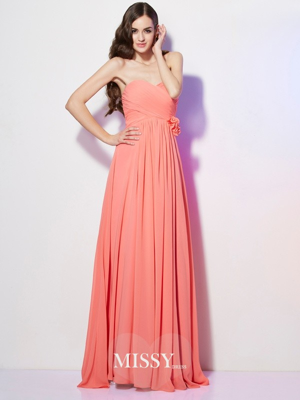A-Line/Princess Sweetheart Sleeveless Hand-Made Flower Floor-Length Chiffon Dress