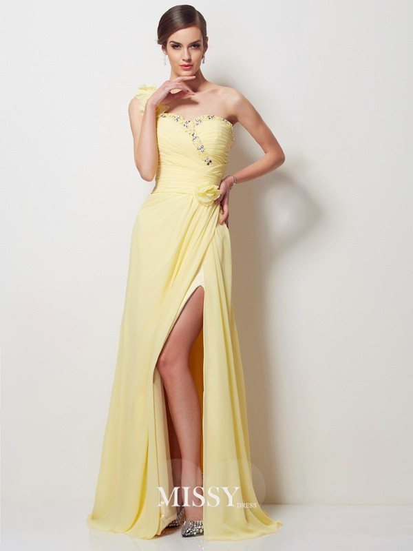A-Line/Princess One-Shoulder Sleeveless Beading Chiffon Floor-Length Dress