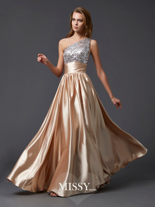 A-line/Princess Sleeveless One-shoulder Floor-length Paillette Elastic Woven Satin Dress