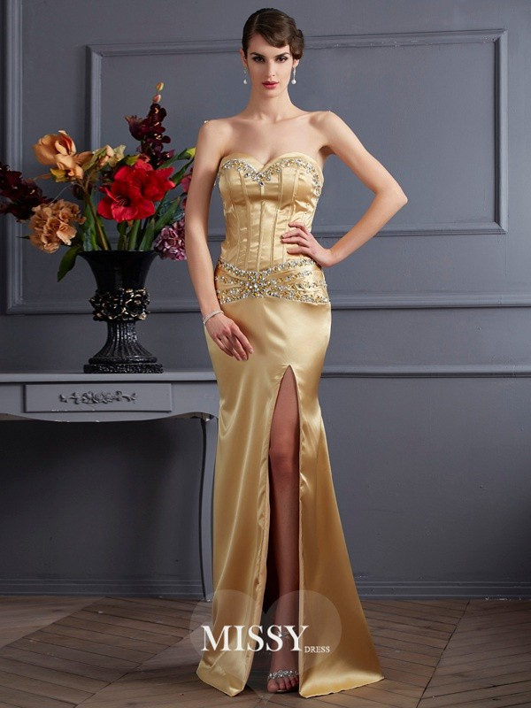 Sheath/Column Sweetheart Sleeveless Beading Elastic Woven Satin Dress