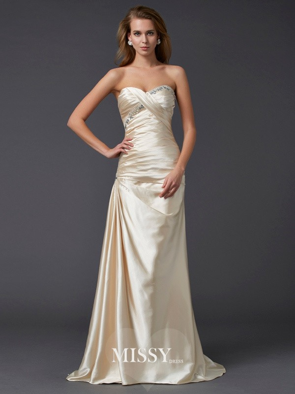 Sheath/Column Sleeveless Sweetheart Beading Elastic Woven Satin Sweep/Brush Train Dress