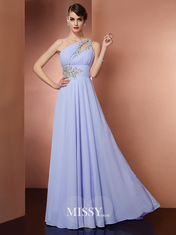 A-Line/Princess One-Shoulder Sleeveless Applique Beading Sweep/Brush Train Chiffon Dress