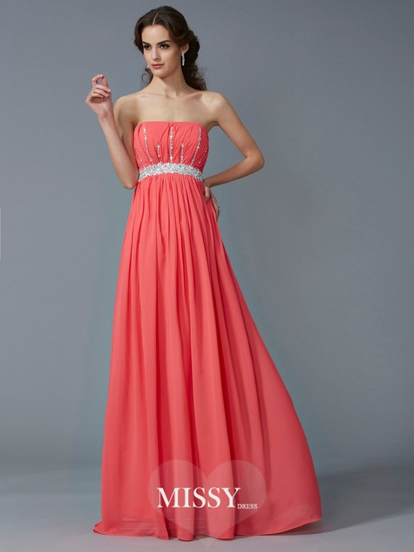 A-Line/Princess Strapless Beading Chiffon Floor-Length Dress