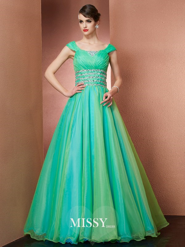 A-line/Princess Scoop Beading Sleeveless Floor-length Organza Dress
