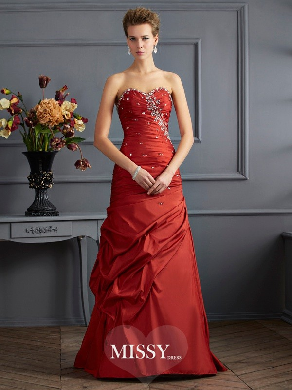 Trumpet/Mermaid Sweetheart Sleeveless Floor-length Beading Taffeta Dress