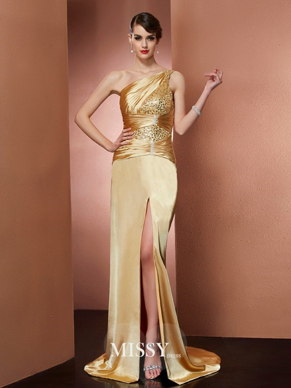 Sheath/Column One-Shoulder Sleeveless Elastic Woven Satin Beading Sweep/Brush Train Dress