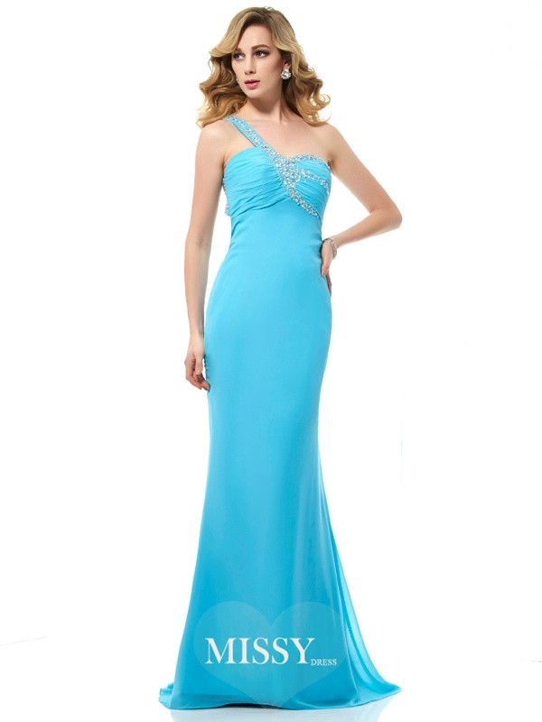 Trumpet/Mermaid Chiffon One-Shoulder Beading Sleeveless Sweep/Brush Train Dress