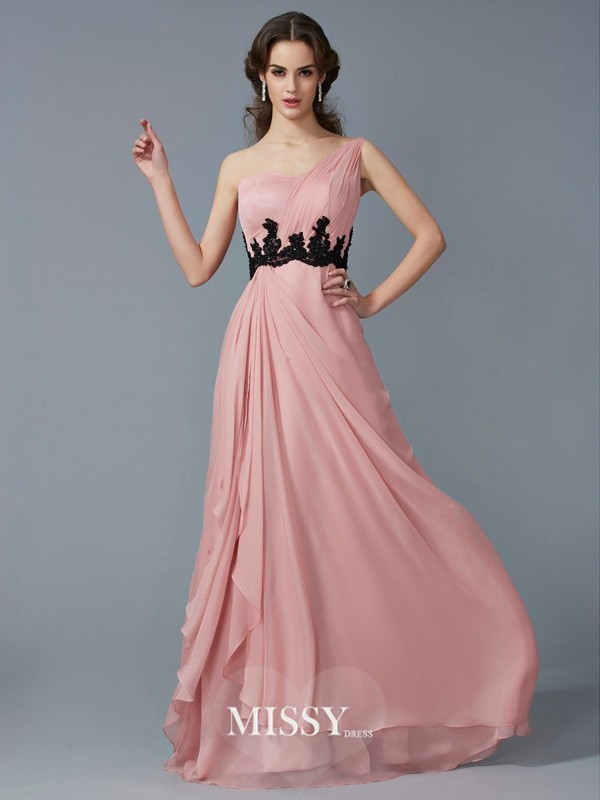 Princess One-Shoulder Sleeveless Applique Beading Chiffon Floor-Length Dresses