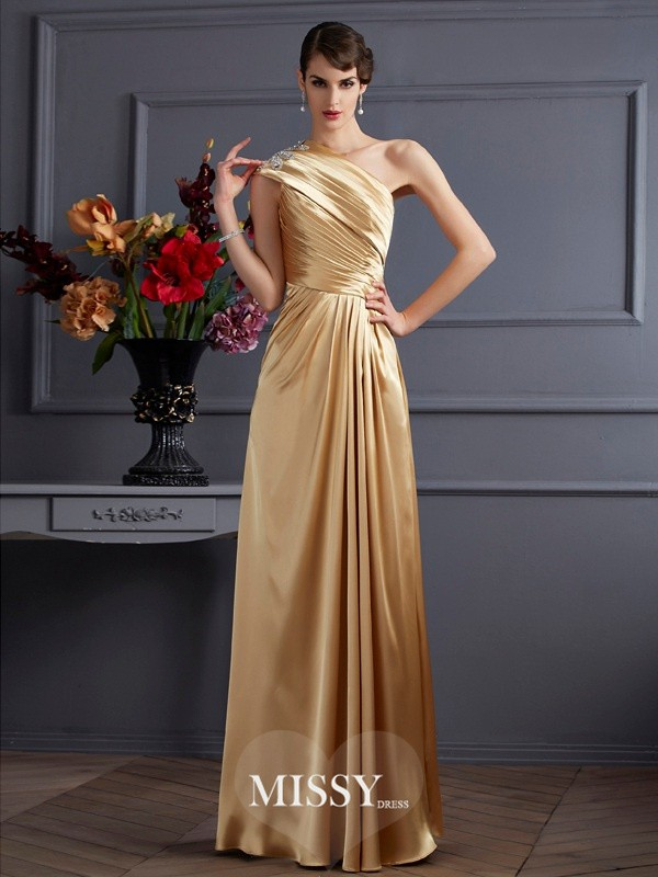 Princess One-Shoulder Sleeveless Beading Elastic Woven Satin Floor-Length Dresses