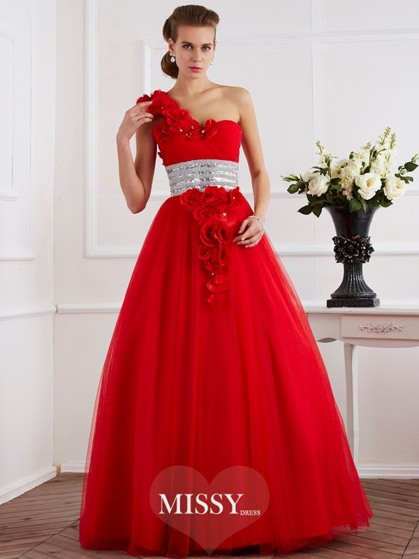 Ball Gown One-Shoulder Hand-Made Flower Sleeveless Floor-Length Net Dresses