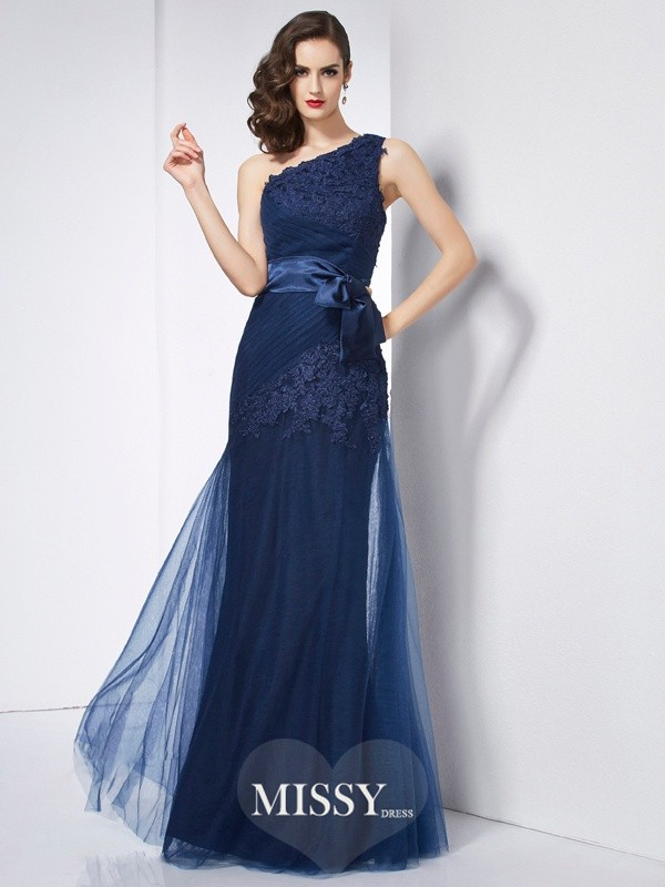 A-Line One-Shoulder Sleeveless Applique Organza Dresses