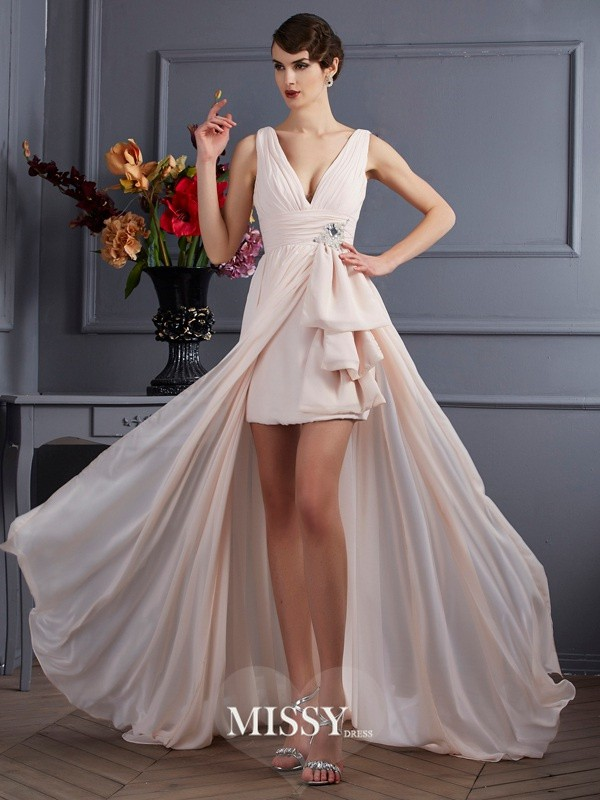 A-Line/Princess Straps Court Train Sleeveless Chiffon Beading Dresses
