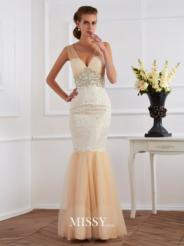 Mermaid Sleeveless V-neck Beading Floor-length Net Lace Dresses