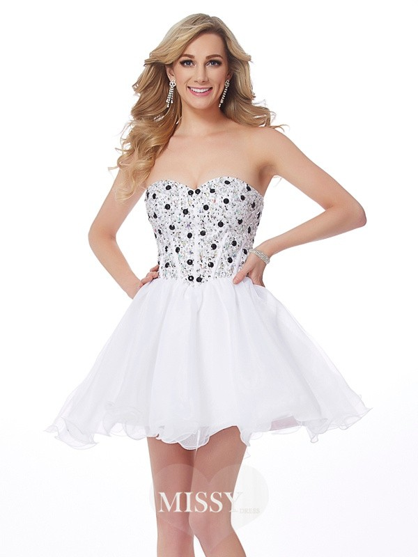 A-Line/Princess Sweetheart Sleeveless Beading Elastic Woven Satin Short/Mini Dress
