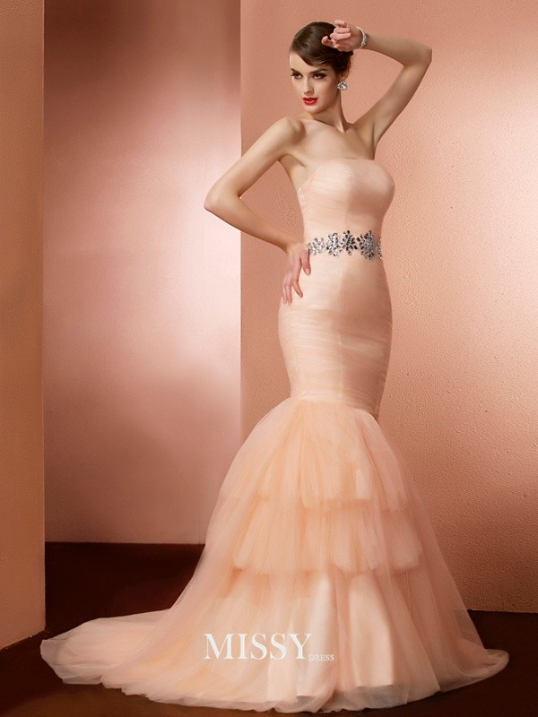 Mermaid Strapless Sleeveless Beading Sweep/Brush Train Net Dresses