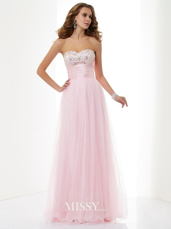 A-Line/Princess Sweetheart Beading Elastic Woven Satin Floor-Length Dresses