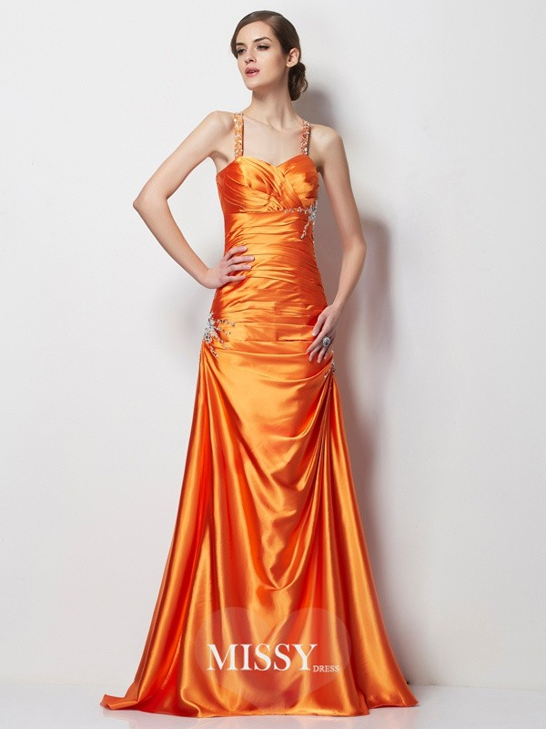 A-Line/Princess Spaghetti Straps Beading Satin Sweep/Brush Train Elastic Woven Dresses