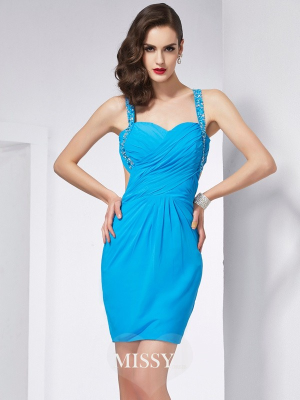Sheath/Column Spaghetti Straps Beading Mini Chiffon Dresses