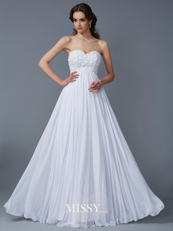 A-Line/Princess Sweetheart Ruffles Chiffon Floor-Length Dresses