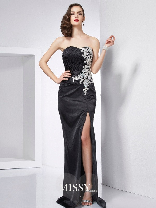 Trumpet/Mermaid Sweetheart Beading Elastic Woven Satin Dresses