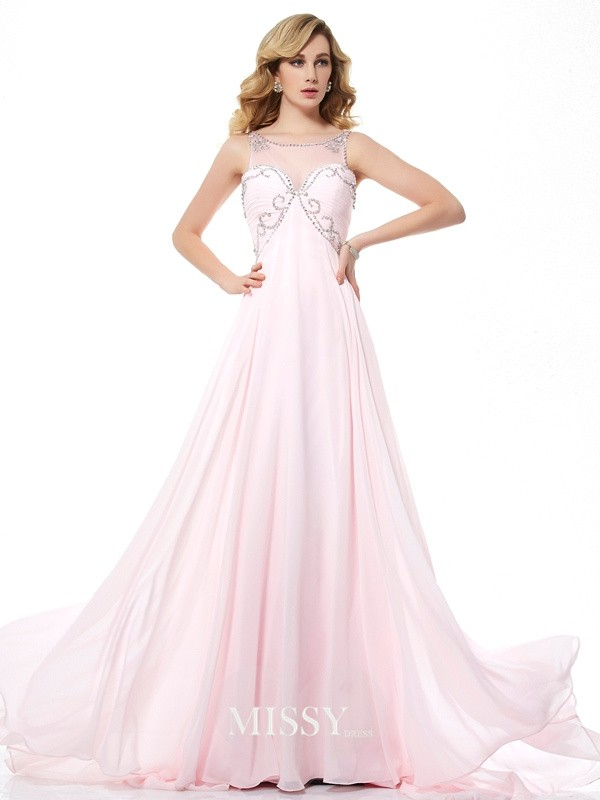 A-Line/Princess Beading Scoop Chiffon Sweep/Brush Train Dresses