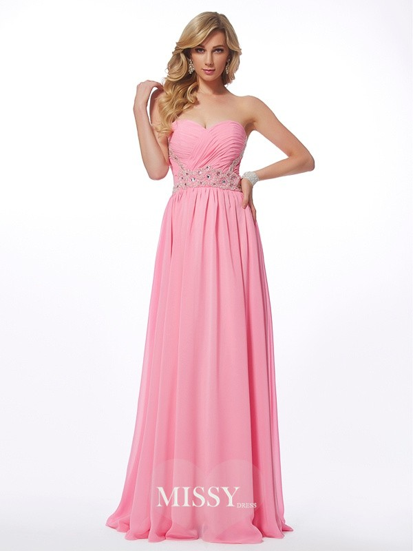 Princess Sweetheart Sleeveless Applique Floor-length Chiffon Dress