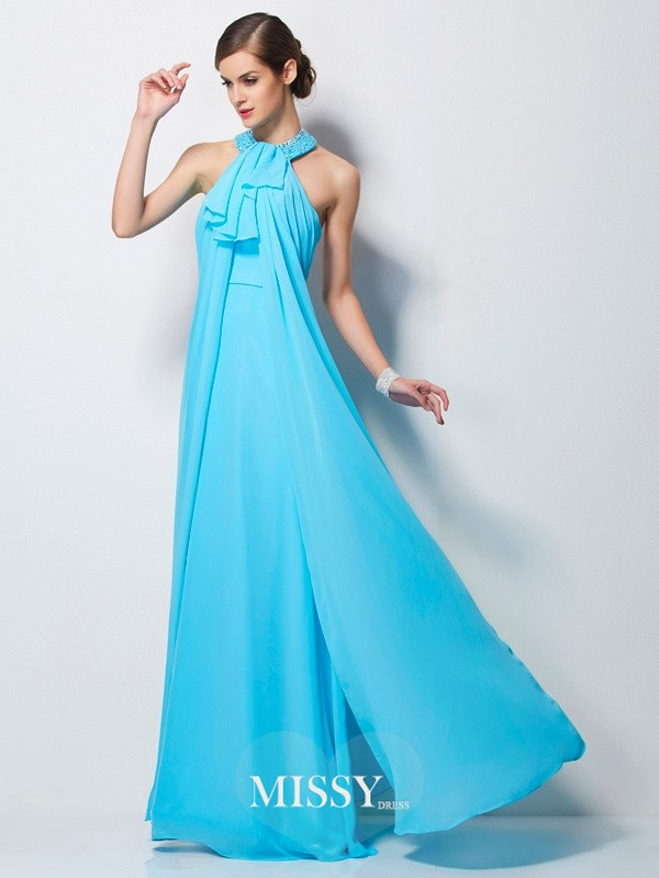 Sheath/Column Beading Floor-Length Chiffon Dresses