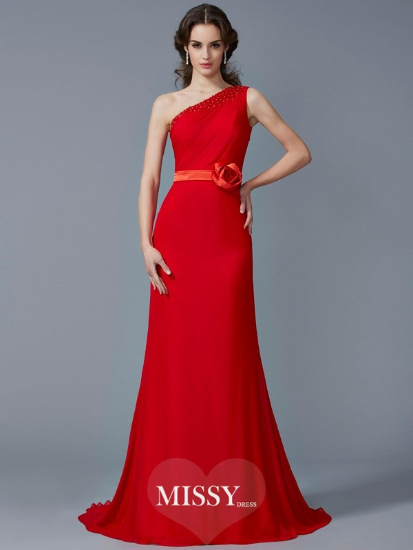 A-Line/Princess One-Shoulder Beading Sweep/Brush Train Dresses