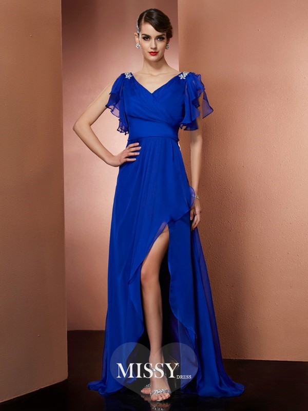 Sheath/Column V-neck Beading Asymmetrical Chiffon Dresses