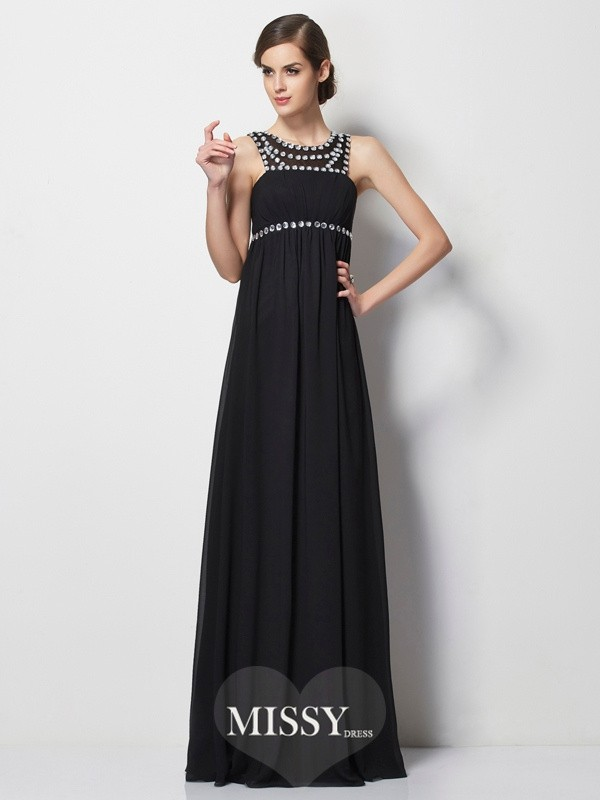 Sheath/Column High Neck Beading Floor-Length Chiffon Dresses