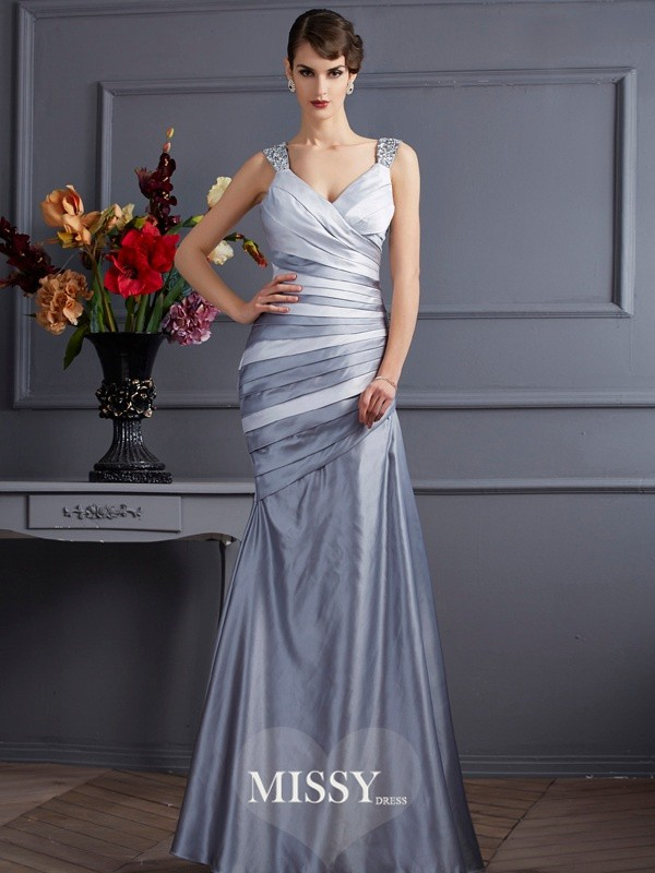 Trumpet/Mermaid Straps Pleats Floor-Length Satin Dresses