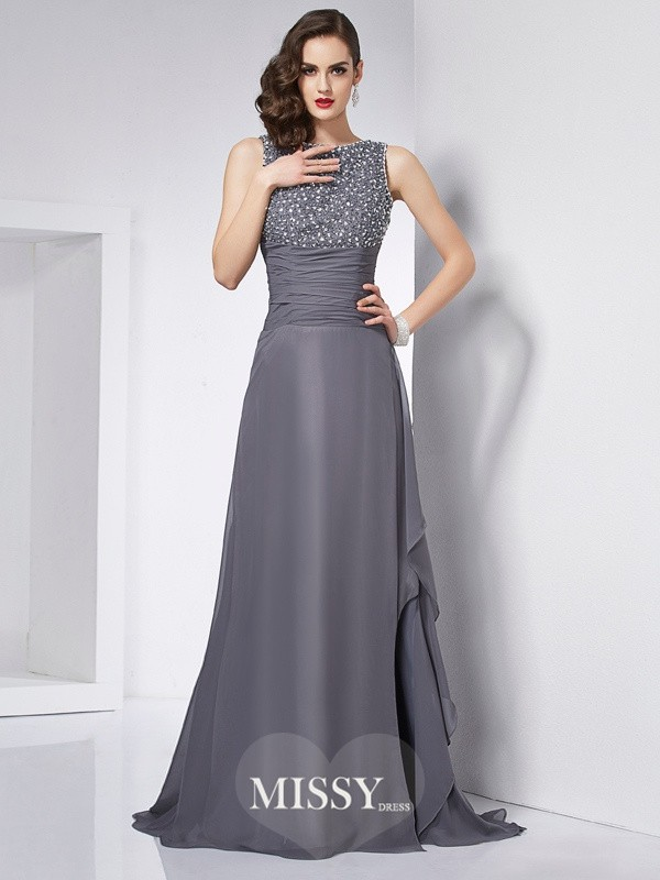 A-Line/Princess Jewel Beading Chiffon Sweep/Brush Train Dresses