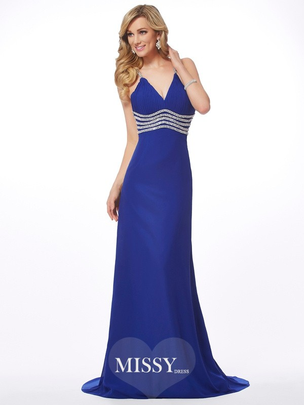 A-Line/Princess V-neck Beading Sweep/Brush Train Chiffon Dresses