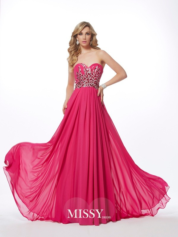 A-Line/Princess Sweetheart Pleats Floor-Length Chiffon Dresses